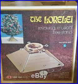 Vintage Handy Things Lorelei Rotating Musical Christmas Tree Stand Gold W Flakes