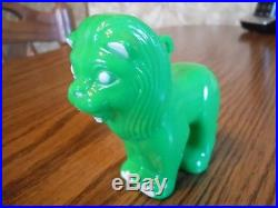 Vintage Hard Plastic No Glow In The Dark Green Lion Christmas Tree Ornament