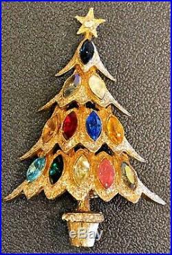 Vintage Hattie Carnegie Gold Tone Crystal Christmas Tree Brooch Pin