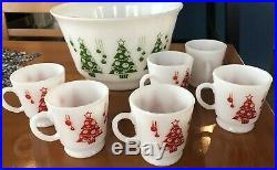 Vintage Hazel Atlas Milk Glass Christmas Tree Punch Set 6 CupsNEW In Box
