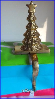 Vintage Heavy Brass for Boy Girl Christmas Tree Stocking Mantel Hook Holder