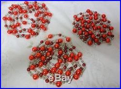 Vintage Holiday Christmas Tree Mercury Glass Beaded 3 Garlands Strings Ornaments