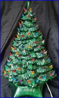 Vintage Holland Mold Ceramic Light Up Christmas Tree Green Glaze Working 20