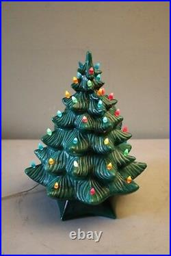 Vintage Holland Mold Green Ceramic Christmas Tree With Base & Multi-Colored Lights