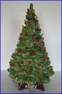 Vintage Holland Mold Green Ceramic Lighted 19 Christmas Tree with Music Box