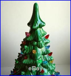 Vintage Holland Mold Lighted 2 Piece Ceramic Christmas Tree 18 Tall Star Base