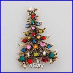 Vintage Hollycraft Christmas Tree Brooch Multi-Color Rhinestones Gold-Toned Pin