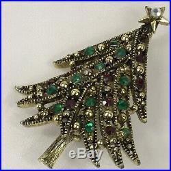 Vintage Hollycraft Goldtone Red Green Rhinestone Christmas Tree Brooch Pin RARE