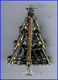 Vintage Hollycraft Shades Of Green Rhinestone Christmas Tree Pin