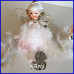 Vintage Holt Howard Porcelain Angel White Feather Christmas Tree Topper Pink Set