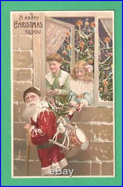 Vintage Htl Christmas Postcard Santa Claus Children Window Tree Sack Toys