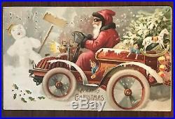 Vintage Htl Christmas Postcardsanta Clausautosnowmantoystreerocking Horse