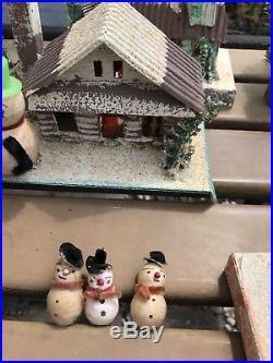 Vintage Huge Bottle Brush Christmas Village Putz Mica Houses Trees Snowmen Santa