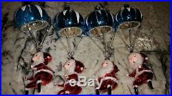 Vintage ITALY De Carlini PARACHUTING SANTA Mercury Glass Xmas Tree Ornament RARE