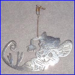 Vintage Janna Mexico Taxco Sterling Silver Reclining Mouse Xmas Tree Ornament