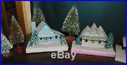 Vintage Japan Christmas Glitter Paper Mache 12 Houses 10 bottle trees Fun Lot