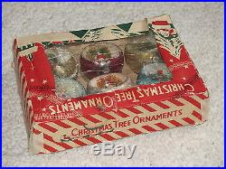 Vintage Japan Indent Diorama Christmas Tree Ornaments, Glass, Original Box, Mica