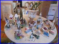 Vintage Japan Putz Christmas Village LotHouses Churches Trees SANTA in Sleigh