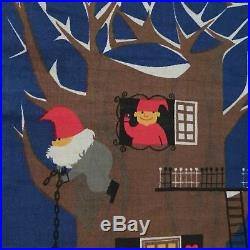 Vintage Jerry Roupe Christmas Hanging Tapestry Elves Tree Scandinavian Swedish