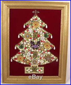 Vintage Jeweled Christmas Tree Picture Framed Rhinestones Beads Faux Pearls