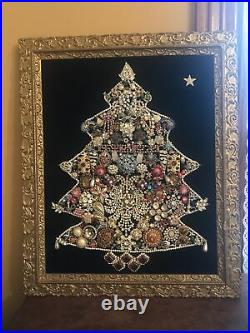 Vintage Jeweled Christmas Tree Wall Decor Lighted Costume Jewelry Bling Framed