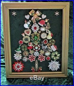 Vintage Jewelry Art Christmas Tree Gold Frame 16 x 13