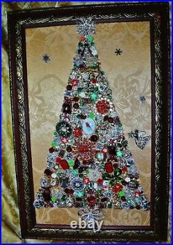 Vintage Jewelry Art Christmas Tree, Super Estate Frame, Signed & Framed
