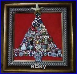 Vintage Jewelry Art Christmas Tree, signed, & framed