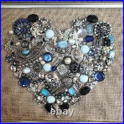 Vintage Jewelry Art, Heart, Christmas trees, Angels, Flower vases, etc. Framed