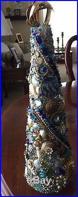 Vintage Jewelry Christmas Tree, BluesAqua Rhinestones, Beads, 14High