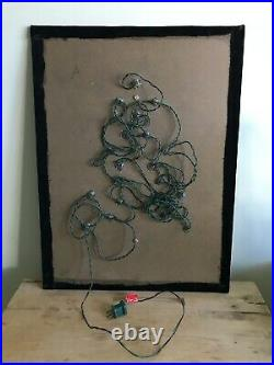 Vintage Jewelry Christmas Tree Framed Art Handmade 24 x 18 Lights Up