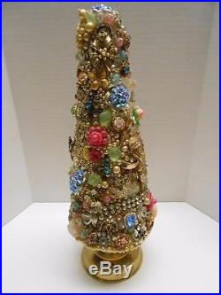 Vintage Jewelry Christmas Tree Rhinestone 12 Tall Cottage Shabby Cone Tree