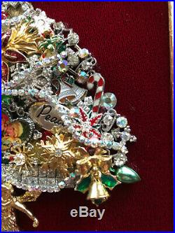 Vintage Jewelry Christmas Tree Rhinestone Framed Art Angel Star Bird Bible Star