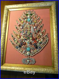 Vintage Jewelry Display Framed Christmas/Holiday Tree Pink Fabric/Gold Frame