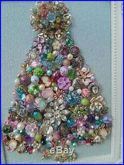 Vintage Jewelry Framed CHRISTMAS TREE Blue & Pink STARBasket of FlowersBow