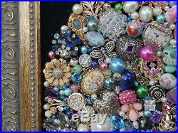 Vintage Jewelry Framed CHRISTMAS TREE Blue Rhinestone STAR CameoOwlWatch