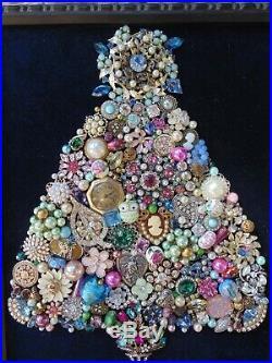 Vintage Jewelry Framed CHRISTMAS TREE Blue STAR PINK Flamingos & PALM Trees
