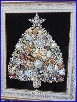 Vintage Jewelry Framed CHRISTMAS TREE GOLD & PEARLS CameoSTAR GORGEOUS