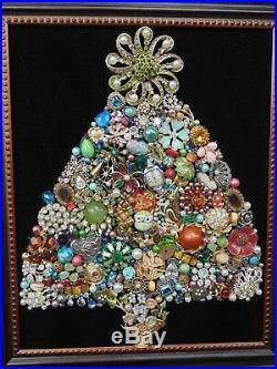 Vintage Jewelry Framed CHRISTMAS TREE GREEN Rhinestone STAR Heart LocketOwl