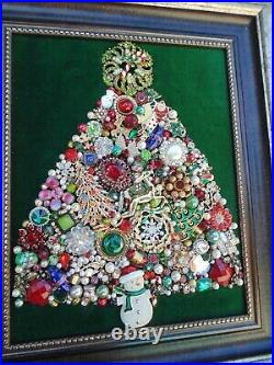 Vintage Jewelry Framed CHRISTMAS TREE SANTACandy CaneRudolphSnowman