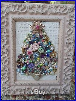 Vintage Jewelry Framed CHRISTMAS TREE Shabby PINK Star Watering Can, OWL, Roses