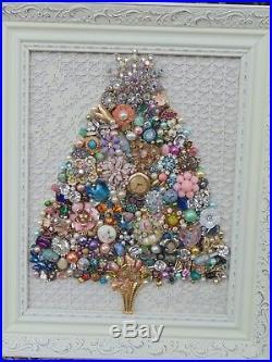 Vintage Jewelry Framed CHRISTMAS TREE Shabby RHINESTONE Star Pink FlowersOwl