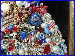 Vintage Jewelry Framed CHRISTMAS TREE USARed White & BlueAmericaPatriotic