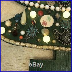 Vintage Jewelry Framed Christmas Tree Art Light Up Mosiac Turquoise Rhinestone