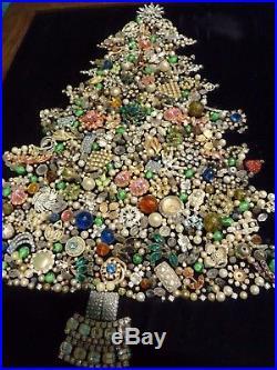 Vintage Jewelry Glittering Rhinestone Christmas Tree Framed Picture Art/Lights