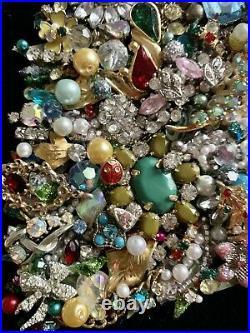 Vintage Jewelry Lot Christmas Tree Framed Art Mixed Glitter Gift Rhinestone Gold