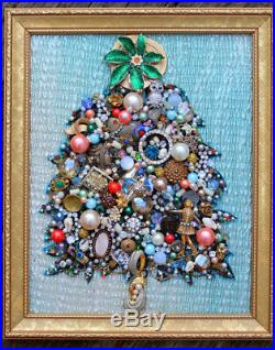 Vintage Jewelry Lot Christmas Tree Framed Wall Art Heirloom Gift Rhinestone Gold