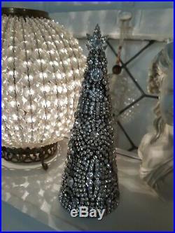 Vintage Jewelry Rhinestone Christmas Tree OOAK