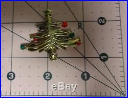 Vintage Jez Signed Sterling Silver Dangle Ornaments Christmas Tree Pin Brooch
