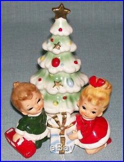 Vintage Josef Originals Christmas Tree Little Girl & Boy with Car Figurine RARE